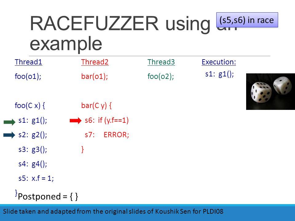 RACEFUZZER using an example Thread1 foo(o1); foo(C x) { s1: g1(); s2: g2(); s3: g3(); s4: g4(); s5: x.f = 1; } Thread2 bar(o1); bar(C y) { s6: if (y.f==1) s7: ERROR; } Thread3 foo(o2); Execution: s1: g1(); (s5,s6) in race Slide taken and adapted from the original slides of Koushik Sen for PLDI08 Postponed = { }