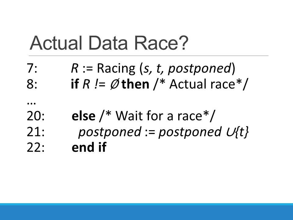 Actual Data Race? 7: R := Racing (s, t, postponed) 8: if R != ∅ then /* Actual race*/ … 20: else /* Wait for a race*/ 21: postponed := postponed ∪ {t}