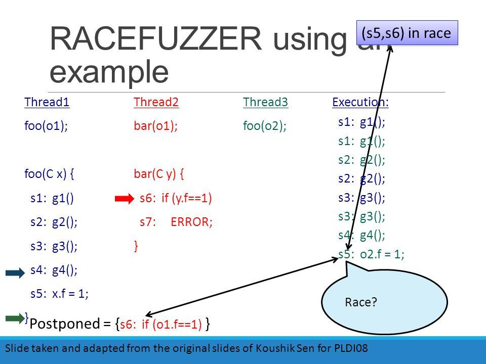 RACEFUZZER using an example Thread1 foo(o1); foo(C x) { s1: g1() s2: g2(); s3: g3(); s4: g4(); s5: x.f = 1; } Thread2 bar(o1); bar(C y) { s6: if (y.f==1) s7: ERROR; } Thread3 foo(o2); (s5,s6) in race Race.