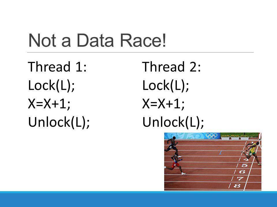 Not a Data Race! Thread 2: Lock(L); X=X+1; Unlock(L); Thread 1: Lock(L); X=X+1; Unlock(L);