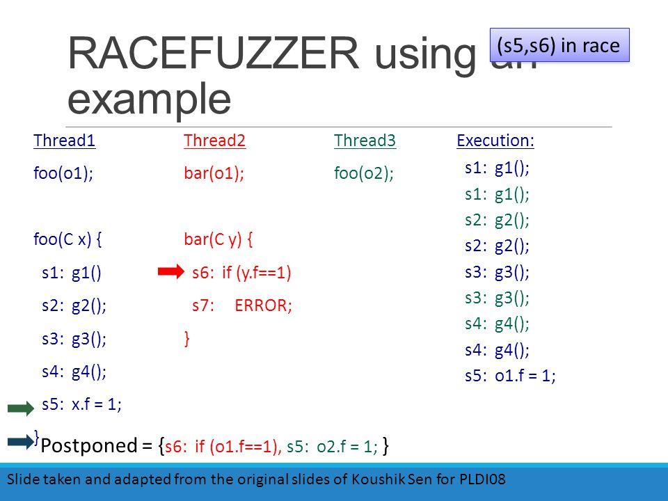 RACEFUZZER using an example Thread1 foo(o1); foo(C x) { s1: g1() s2: g2(); s3: g3(); s4: g4(); s5: x.f = 1; } Thread2 bar(o1); bar(C y) { s6: if (y.f==1) s7: ERROR; } Thread3 foo(o2); Execution: s1: g1(); s2: g2(); s3: g3(); s4: g4(); s5: o1.f = 1; (s5,s6) in race Slide taken and adapted from the original slides of Koushik Sen for PLDI08 Postponed = { s6: if (o1.f==1), s5: o2.f = 1; }