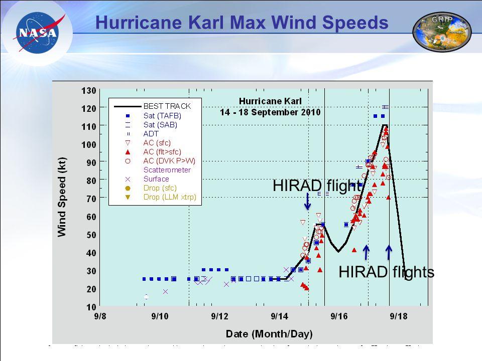 Hurricane Karl Max Wind Speeds HIRAD flight HIRAD flights