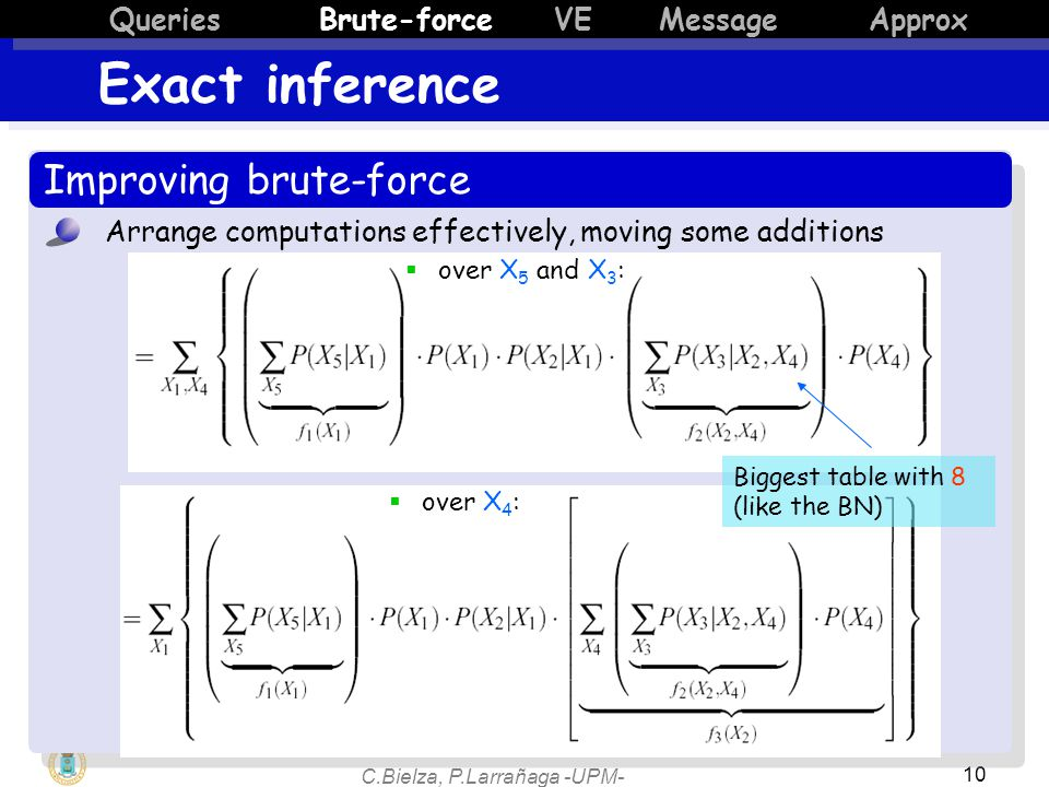 C.Bielza, P.Larrañaga -UPM- 10 Improving brute-force Arrange computations effectively, moving some additions  over X 5 and X 3 :  over X 4 : Biggest