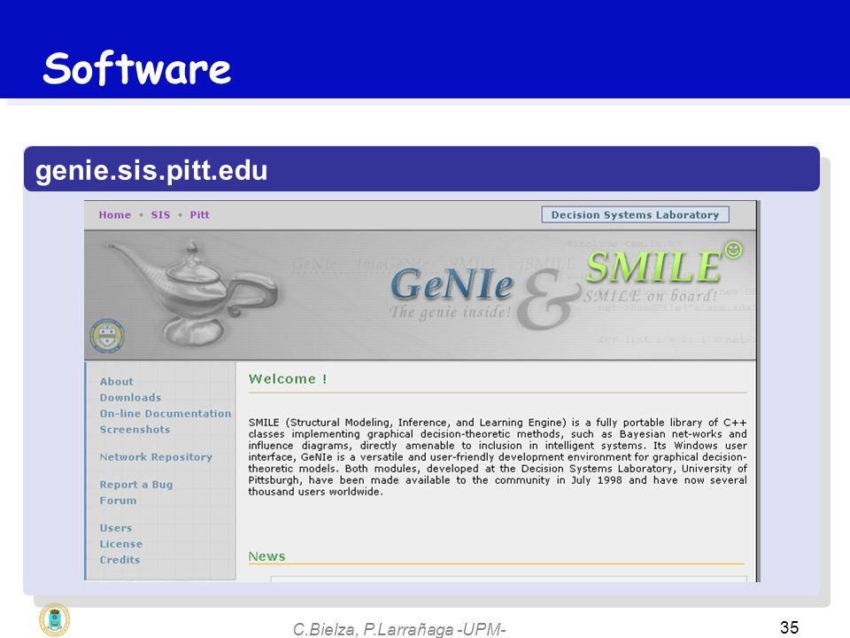 C.Bielza, P.Larrañaga -UPM- 35 genie.sis.pitt.edu Software