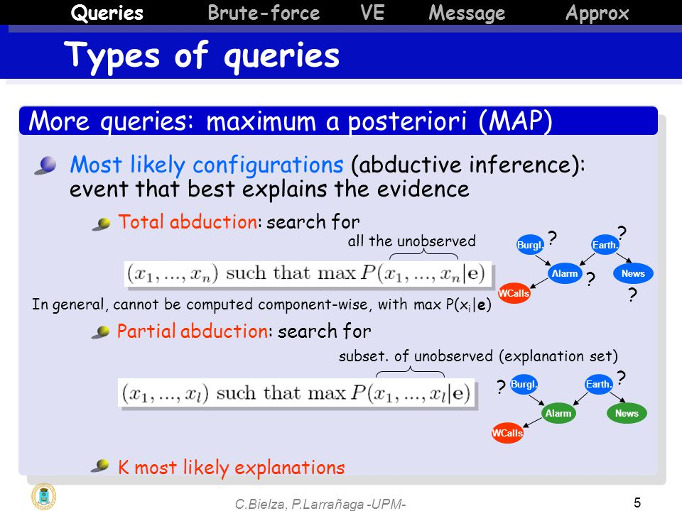 C.Bielza, P.Larrañaga -UPM- 6 More queries: maximum a posteriori (MAP) Types of queries QueriesBrute-force VE Message Approx Use MAP for: Classification: find most likely label, given the evidence Explanation: what is the most likely scenario, given the evidence