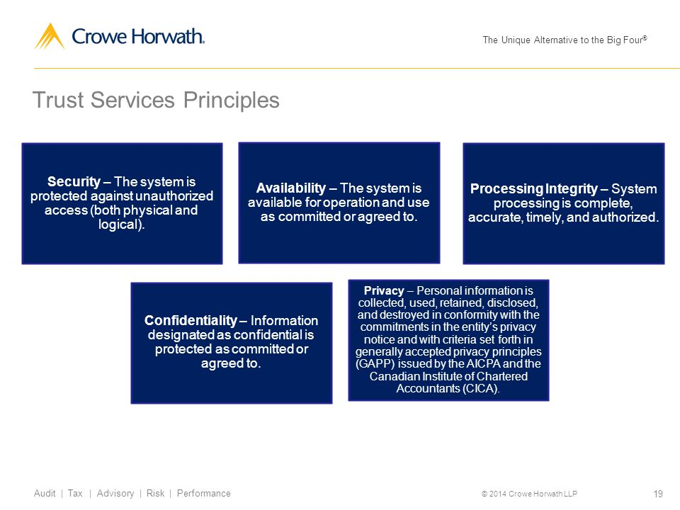 The Unique Alternative to the Big Four ® © 2014 Crowe Horwath LLP 19 Audit | Tax | Advisory | Risk | Performance Trust Services Principles Security –
