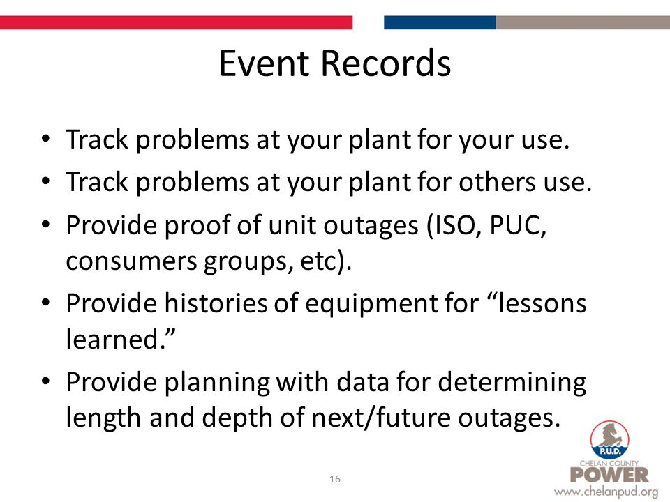 Event Records Track problems at your plant for your use.