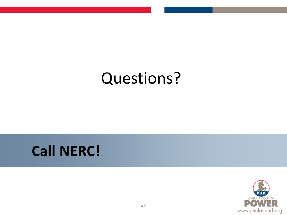 27 Questions Call NERC!