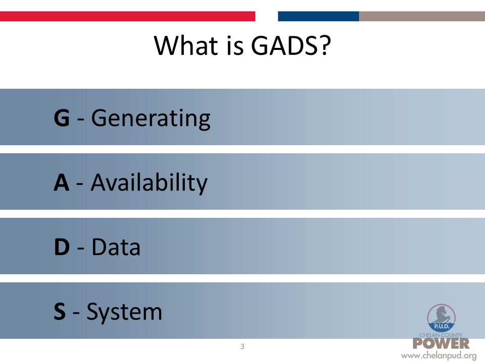 What is GADS 3 A - Availability S - System G - Generating D - Data