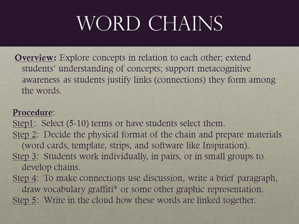 Word chains Overview: Explore concepts in relation to each other; extend students' understanding of concepts; support metacognitive awareness as students justify links (connections) they form among the words.