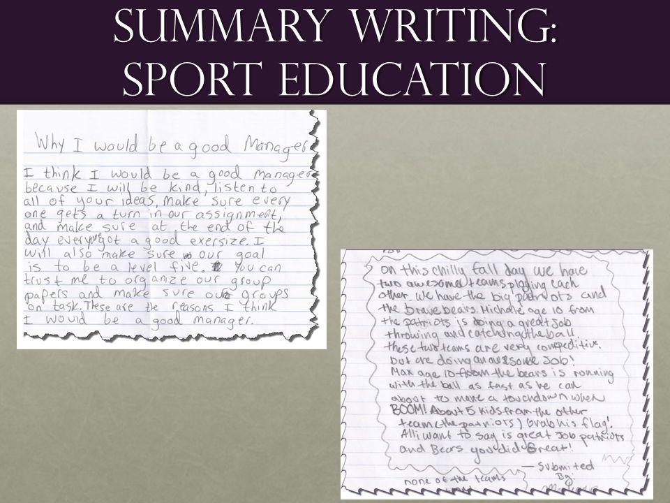 Summary Writing: Sport Education