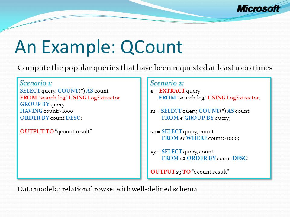 An Example: QCount Compute the popular queries that have been requested at least 1000 times Data model: a relational rowset with well-defined schema