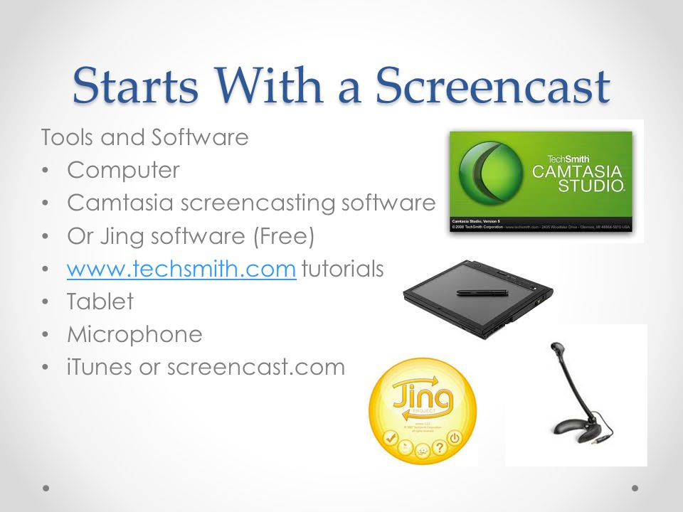 Starts With a Screencast Tools and Software Computer Camtasia screencasting software Or Jing software (Free) www.techsmith.com tutorials www.techsmith.com Tablet Microphone iTunes or screencast.com