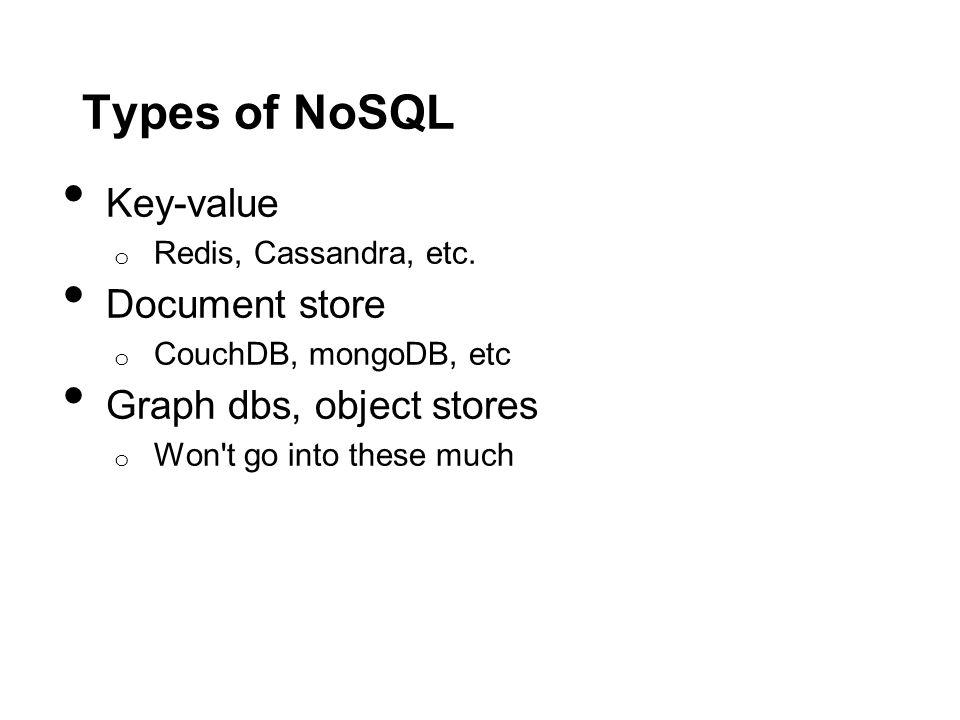 Types of NoSQL Key-value o Redis, Cassandra, etc.