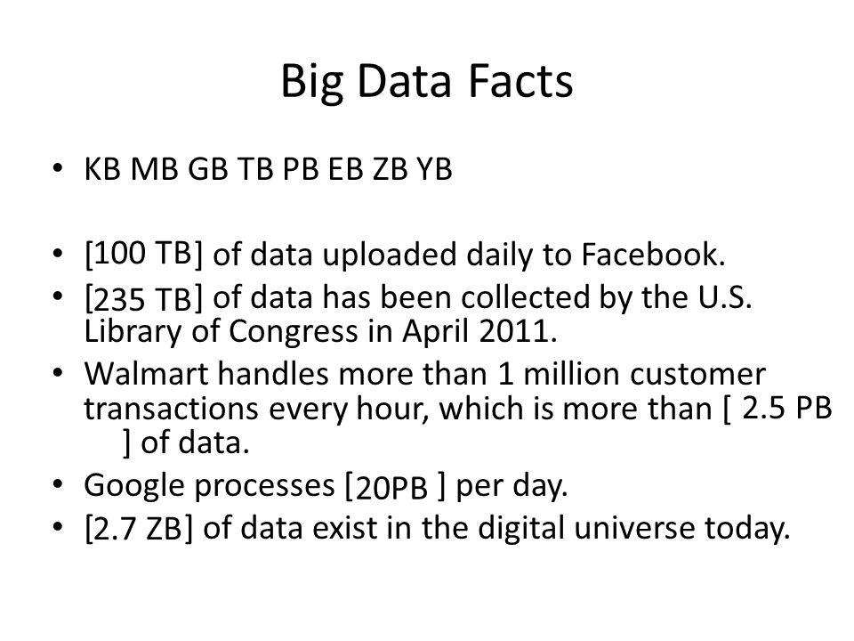 Big Data Facts KB MB GB TB PB EB ZB YB [100 TB] of data uploaded daily to Facebook.