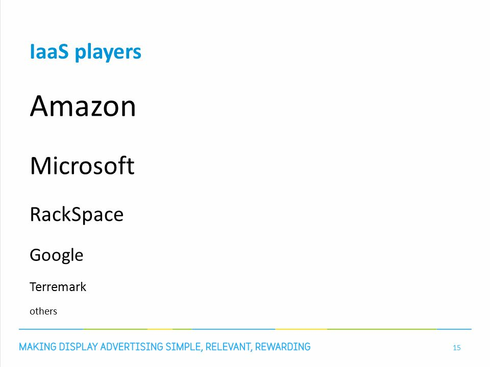 IaaS players Amazon Microsoft RackSpace Google Terremark others 15