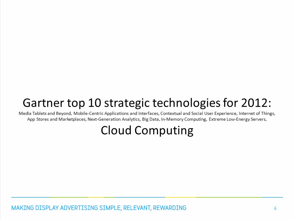 Gartner top 10 strategic technologies for 2012: Media Tablets and Beyond, Mobile-Centric Applications and Interfaces, Contextual and Social User Experience, Internet of Things, App Stores and Marketplaces, Next-Generation Analytics, Big Data, In-Memory Computing, Extreme Low-Energy Servers, Cloud Computing 6