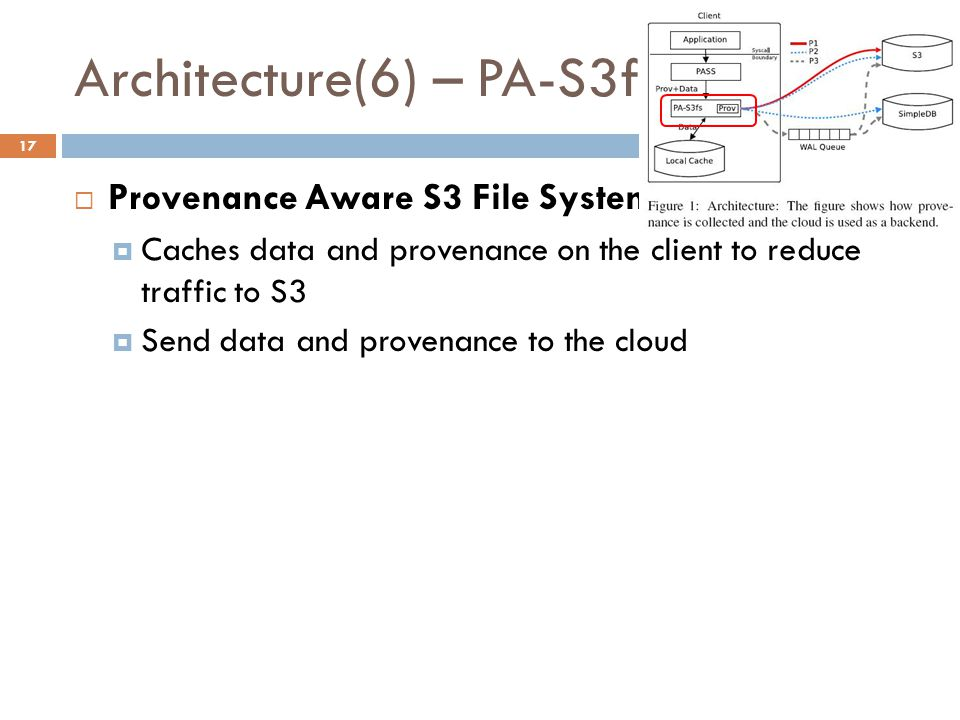 Architecture(6) – PA-S3fs 17  Provenance Aware S3 File System  Caches data and provenance on the client to reduce traffic to S3  Send data and provenance to the cloud