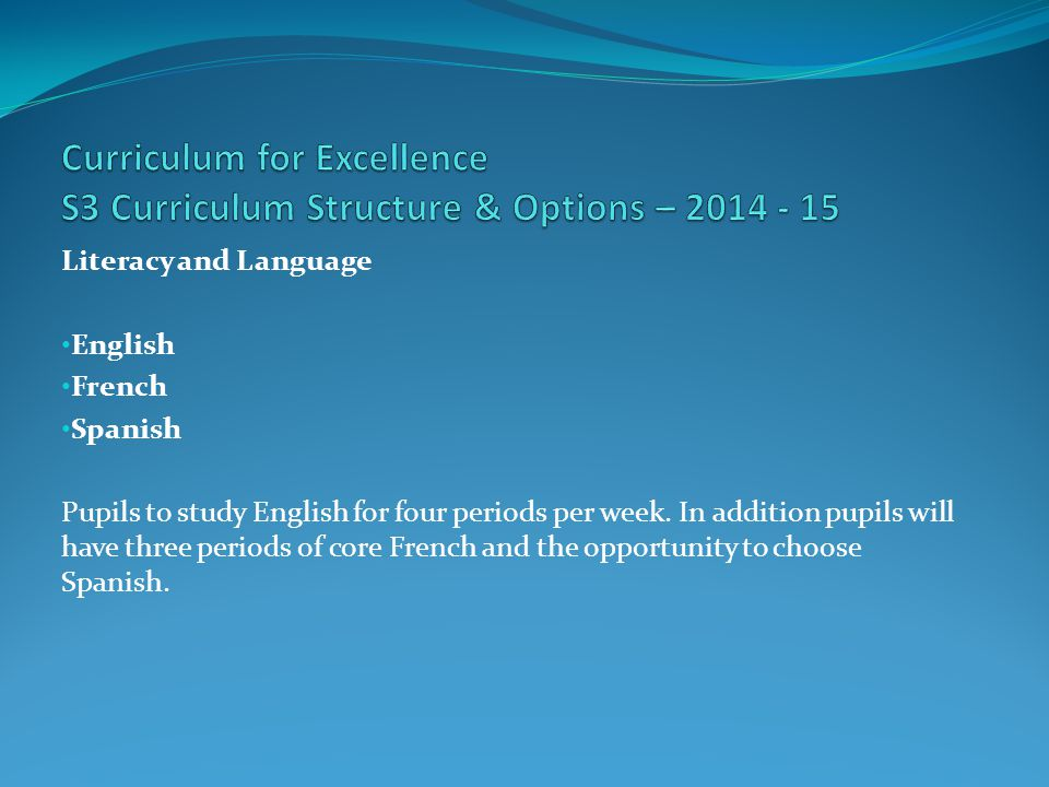 Literacy and Language English French Spanish Pupils to study English for four periods per week.