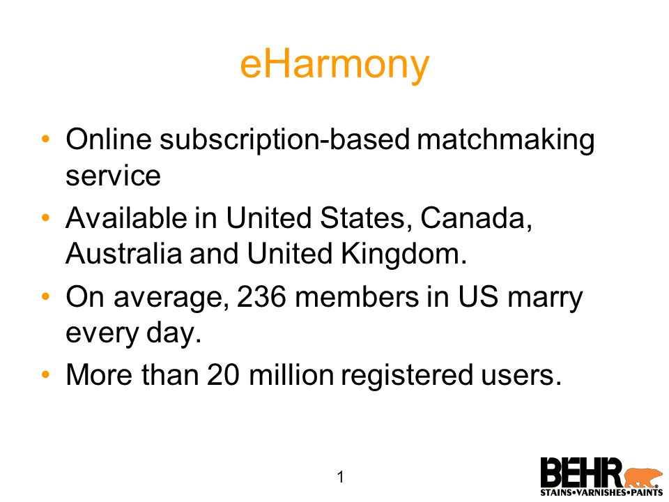 eHarmony Online subscription-based matchmaking service Available in United States, Canada, Australia and United Kingdom. On average, 236 members in US