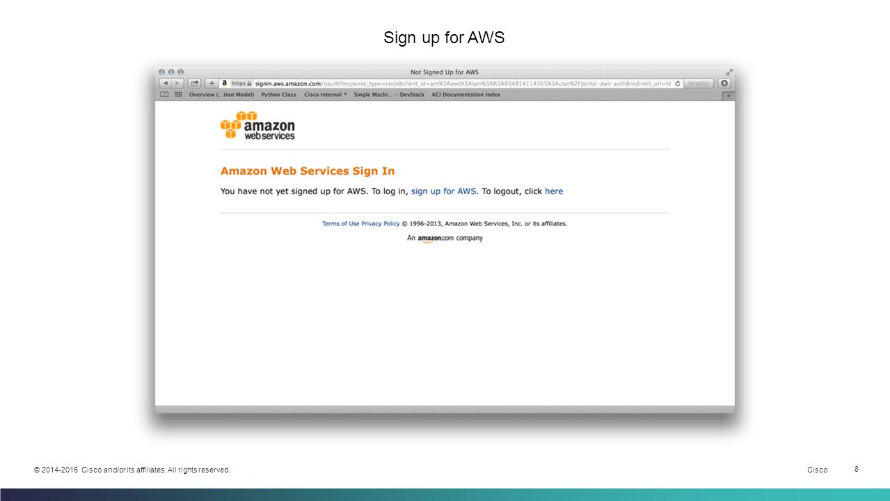 Cisco 8 © 2014-2015 Cisco and/or its affiliates. All rights reserved. Sign up for AWS