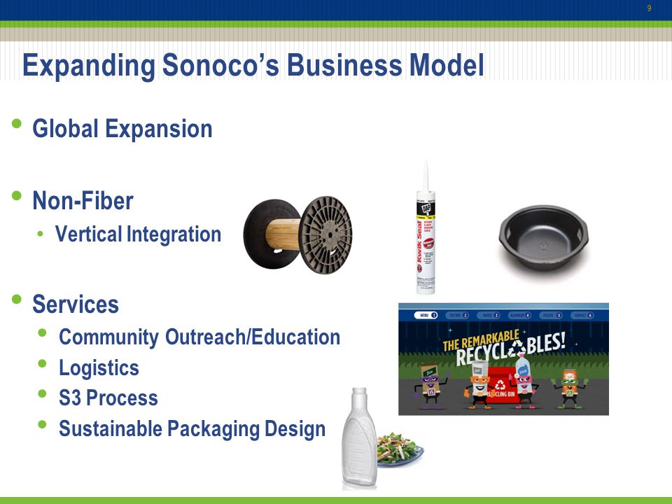 10 Sonoco: Total Solutions Provider From Conception to Collection Sonoco Recycling helps customers create and implement sustainable business solutions: Identify cost avoidance opportunities through reducing and diverting materials currently going to landfills Convert waste streams to revenue streams by finding alternative uses for the materials Provide summary reporting of both productivity improvements and sustainability statistics Assurance of safe destruction of branded material Packaging Design, Innovation & Artwork Management Complete Consumer Packaging Retail Merchandising Packaging Supply Chain Services Recycling