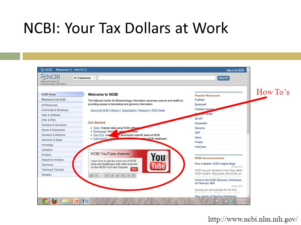 NCBI: Your Tax Dollars at Work How To's http://www.ncbi.nlm.nih.gov/