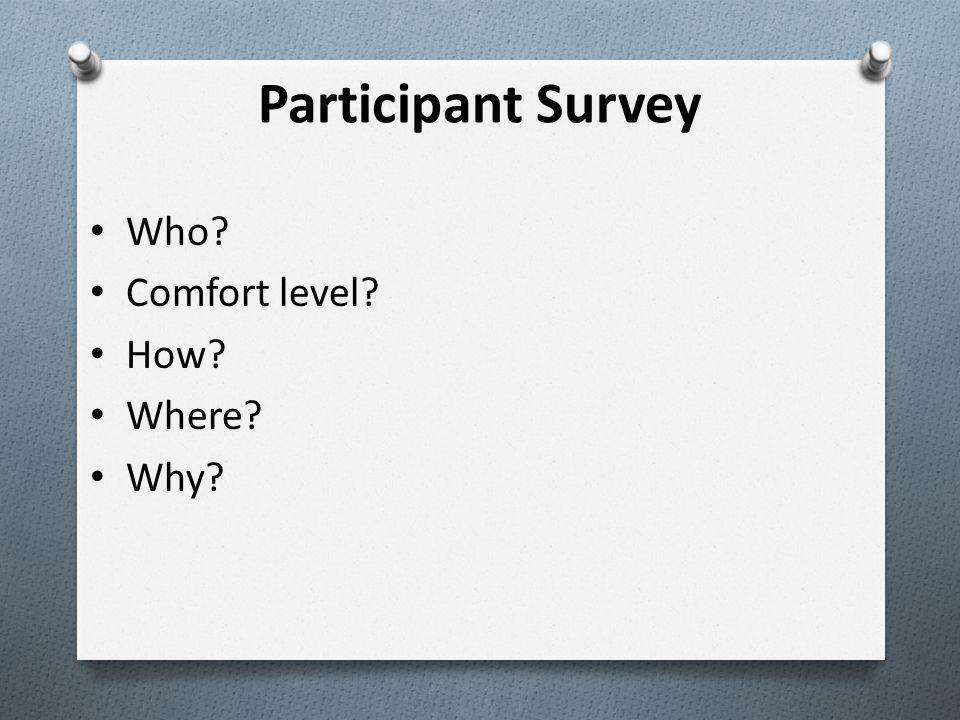 Who Comfort level How Where Why Participant Survey