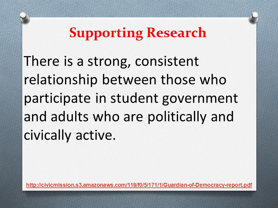 There is a strong, consistent relationship between those who participate in student government and adults who are politically and civically active. Su