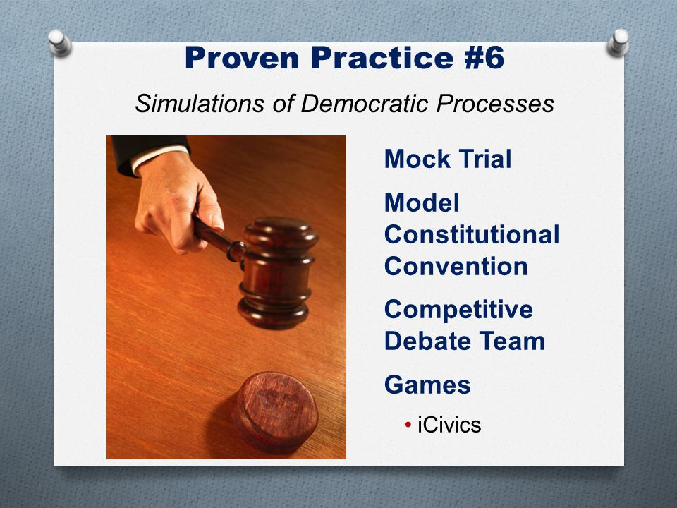 Mock Trial Model Constitutional Convention Competitive Debate Team Games iCivics Proven Practice #6 Simulations of Democratic Processes