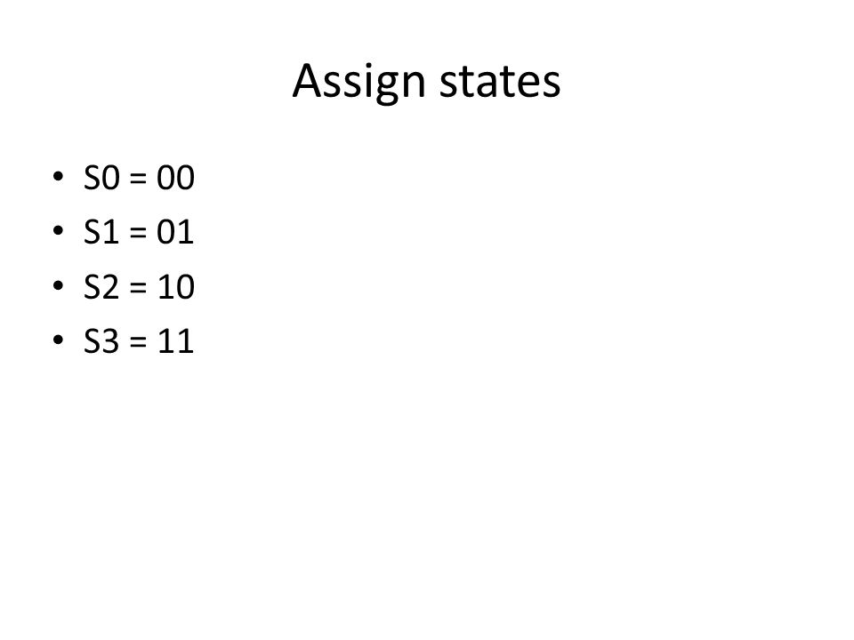 Assign states S0 = 00 S1 = 01 S2 = 10 S3 = 11