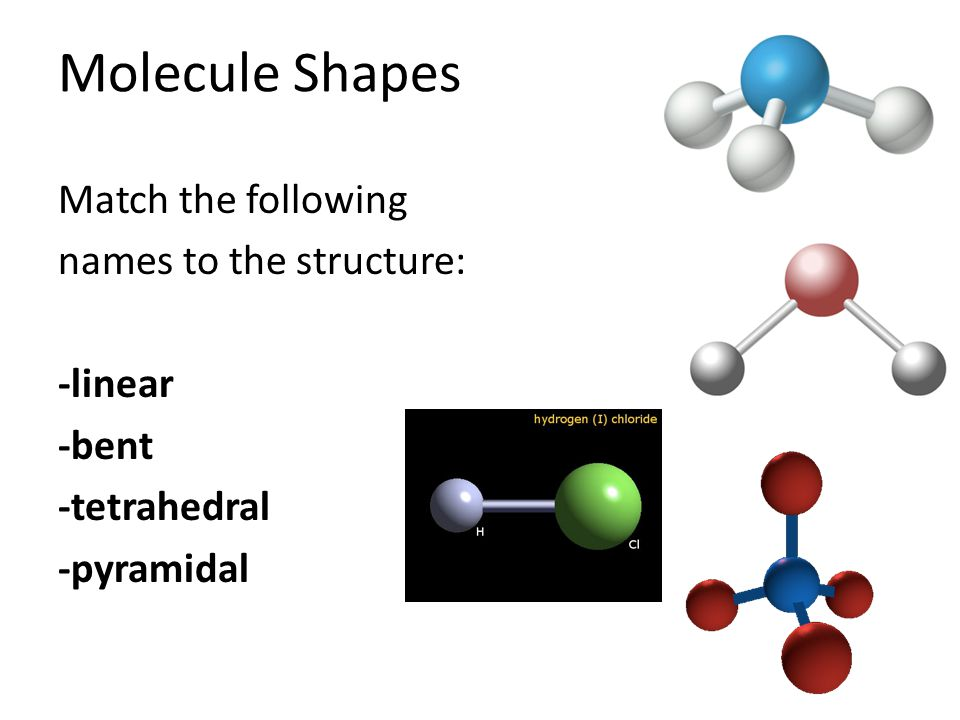 Molecule Shapes Match the following names to the structure: -linear -bent -tetrahedral -pyramidal