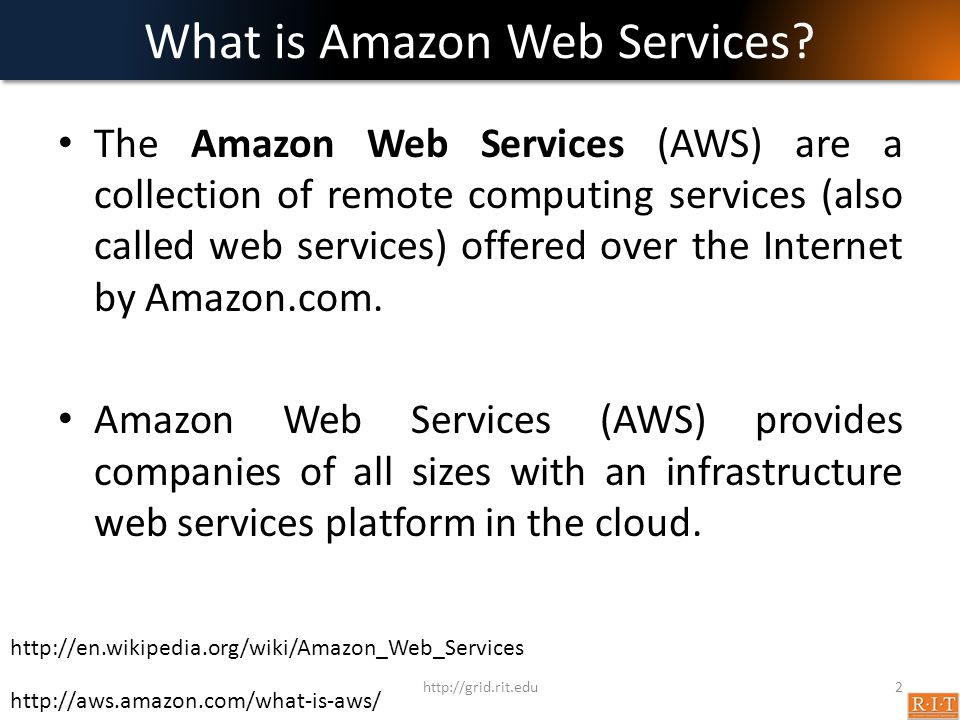 What is Amazon Web Services? The Amazon Web Services (AWS) are a collection of remote computing services (also called web services) offered over the I