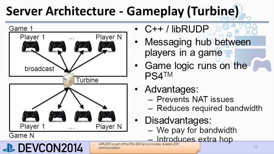 Server Architecture - Gameplay (Turbine) C++ / libRUDP Messaging hub between players in a game Game logic runs on the PS4 TM Advantages: –Prevents NAT issues –Reduces required bandwidth Disadvantages: –We pay for bandwidth –Introduces extra hop 10 Player 1 Player N Turbine … Game 1 broadcast Player 1 Player N … Game N -libRUDP is part of the PS4 SDK and provides reliable UDP communication
