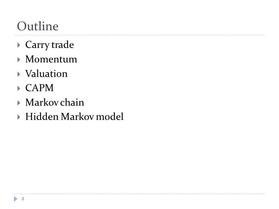Outline  Carry trade  Momentum  Valuation  CAPM  Markov chain  Hidden Markov model 2