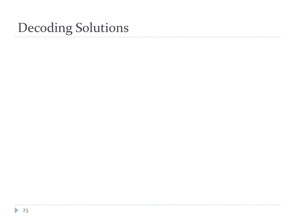 Decoding Solutions 25