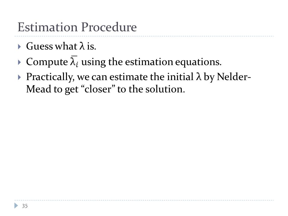 Estimation Procedure 35