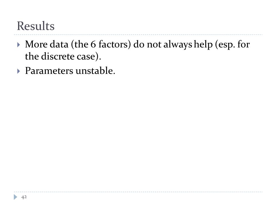 Results  More data (the 6 factors) do not always help (esp.