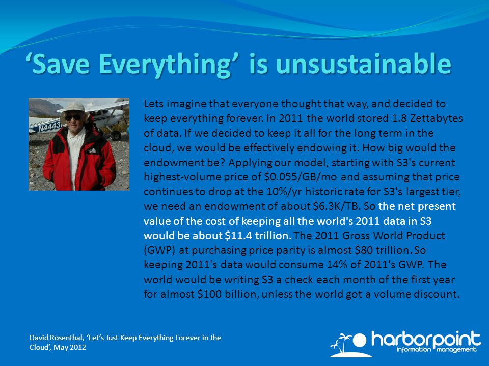 'Save Everything' is unsustainable Lets imagine that everyone thought that way, and decided to keep everything forever.