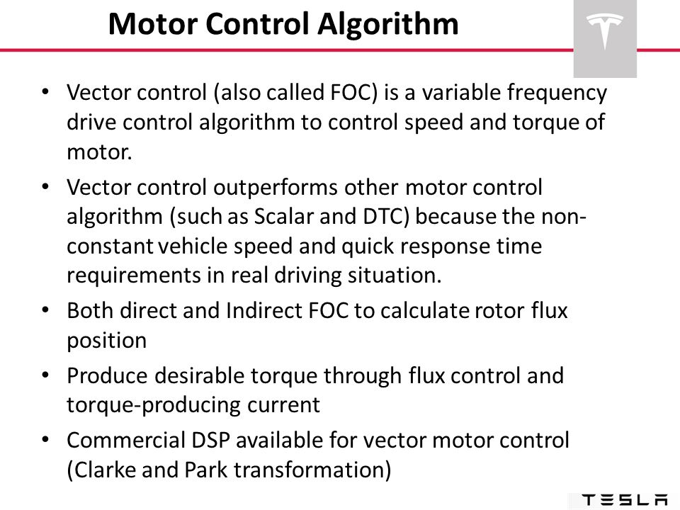 Motor Control Algorithm Vector control (also called FOC) is a variable frequency drive control algorithm to control speed and torque of motor. Vector