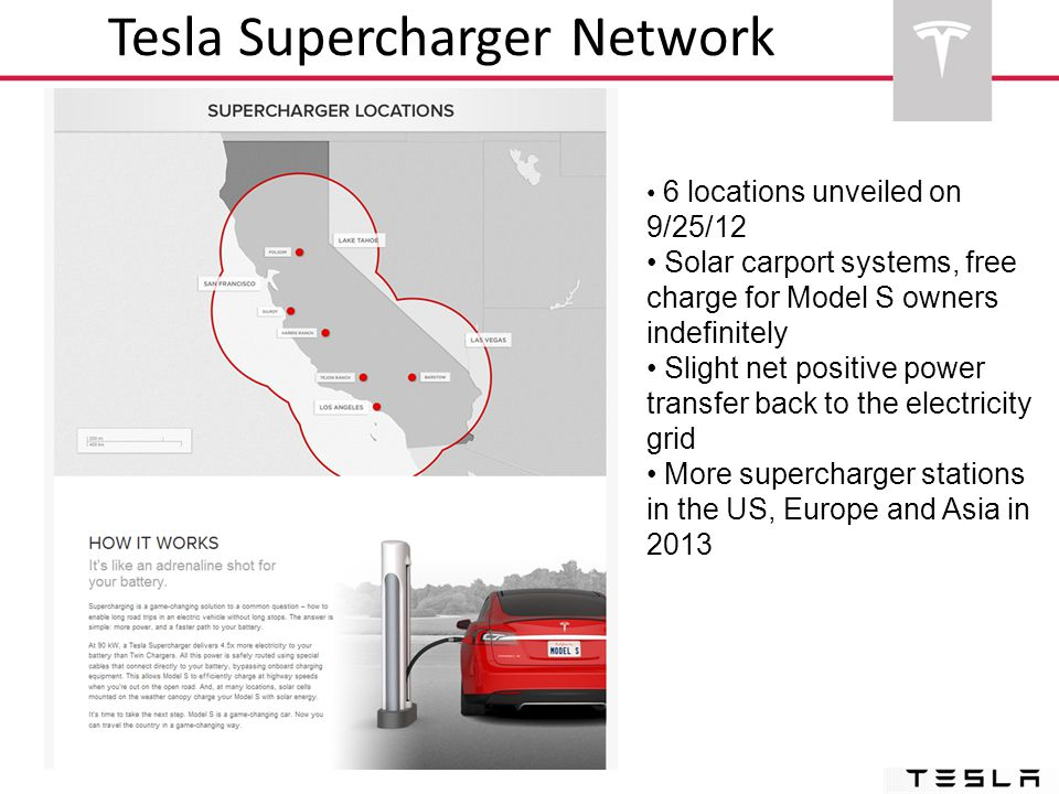 6 locations unveiled on 9/25/12 Solar carport systems, free charge for Model S owners indefinitely Slight net positive power transfer back to the elec