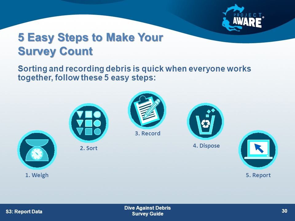 5 Easy Steps to Make Your Survey Count Sorting and recording debris is quick when everyone works together, follow these 5 easy steps: Dive Against Debris Survey Guide 30 S3: Report Data 1.