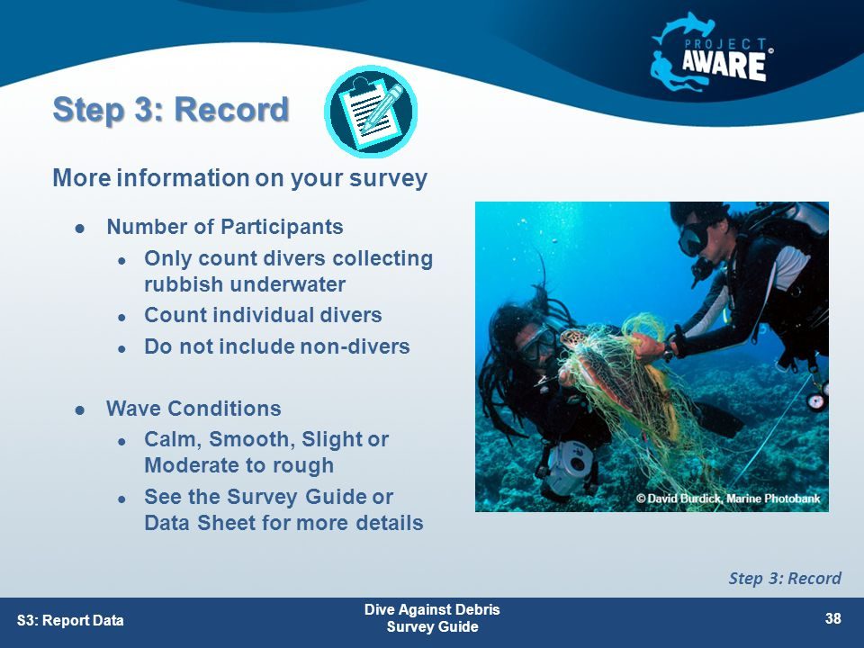 Number of Participants Only count divers collecting rubbish underwater Count individual divers Do not include non-divers Wave Conditions Calm, Smooth, Slight or Moderate to rough See the Survey Guide or Data Sheet for more details More information on your survey S3: Report Data Dive Against Debris Survey Guide 38 Step 3: Record
