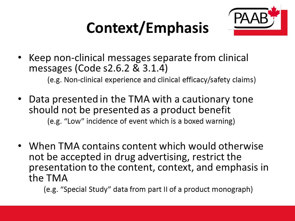Context/Emphasis Keep non-clinical messages separate from clinical messages (Code s2.6.2 & 3.1.4) (e.g.