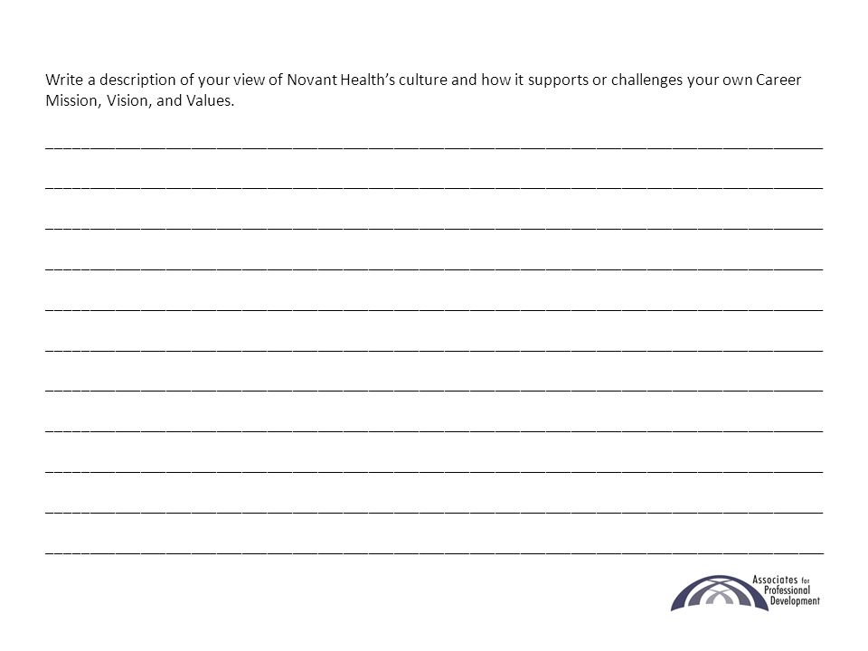 Write a description of your view of Novant Health's culture and how it supports or challenges your own Career Mission, Vision, and Values.