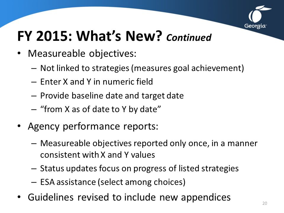 FY 2015: What's New? Continued Measureable objectives: – Not linked to strategies (measures goal achievement) – Enter X and Y in numeric field – Provi