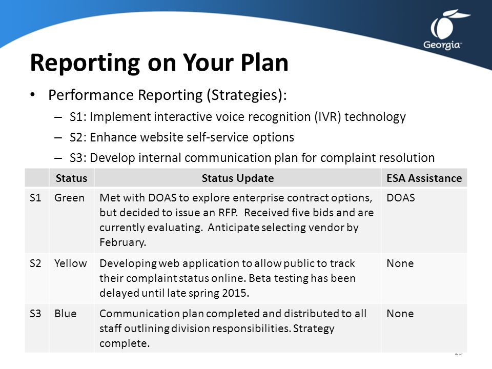 Reporting on Your Plan Performance Reporting (Strategies): – S1: Implement interactive voice recognition (IVR) technology – S2: Enhance website self-s