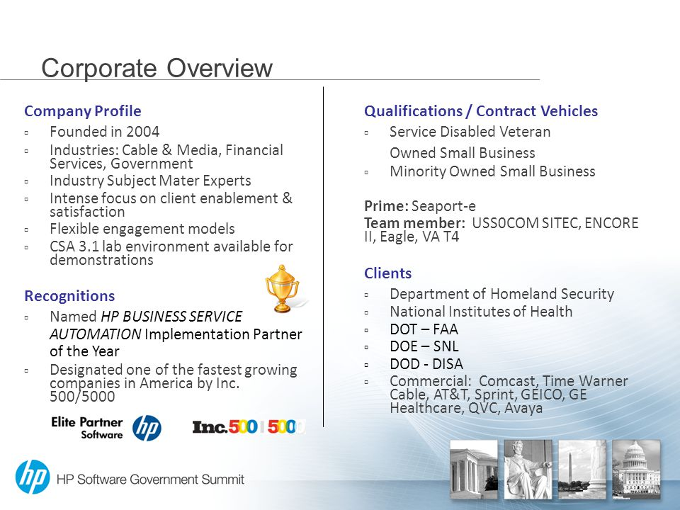 Corporate Overview Company Profile  Founded in 2004  Industries: Cable & Media, Financial Services, Government  Industry Subject Mater Experts  Intense focus on client enablement & satisfaction  Flexible engagement models  CSA 3.1 lab environment available for demonstrations Recognitions  Named HP BUSINESS SERVICE AUTOMATION Implementation Partner of the Year  Designated one of the fastest growing companies in America by Inc.