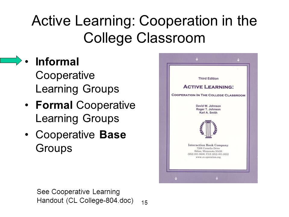 15 Active Learning: Cooperation in the College Classroom Informal Cooperative Learning Groups Formal Cooperative Learning Groups Cooperative Base Grou