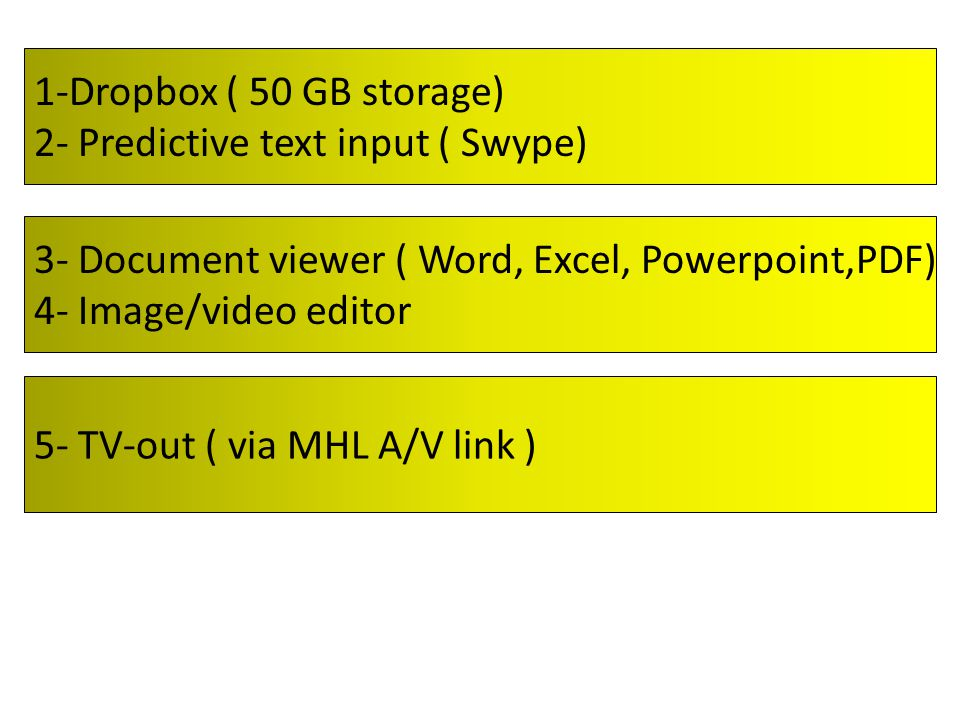 1-Dropbox ( 50 GB storage) 2- Predictive text input ( Swype) 3- Document viewer ( Word, Excel, Powerpoint,PDF) 4- Image/video editor 5- TV-out ( via MHL A/V link )